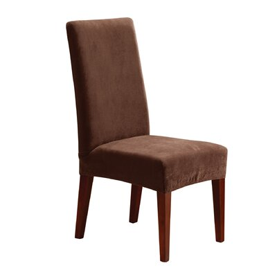 Stretch Pique Short Chair Slipcover Upholstery: Chocolate