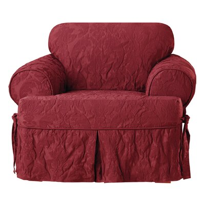 Matelasse Damask T-Cushion Armchair Slipcover Upholstery: Chili