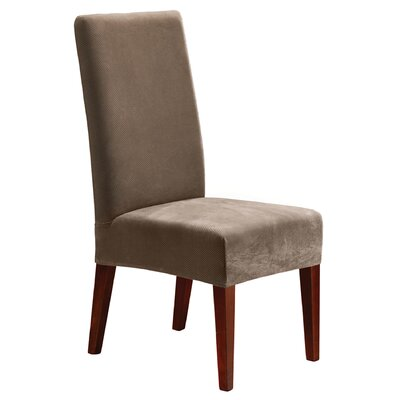 Stretch Pique Short Chair Slipcover Upholstery: Taupe