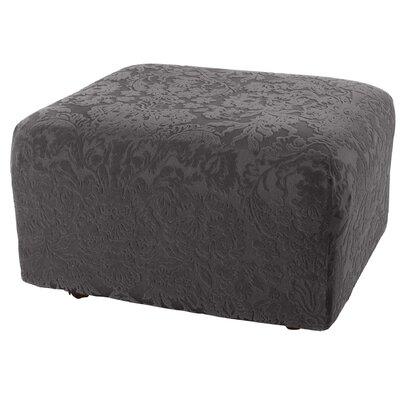 Stretch Jacquard Damask Ottoman Slipcover Upholstery: Gray