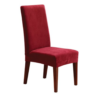 Stretch Pique Short Chair Slipcover Upholstery: Garnet