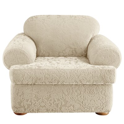 Stretch Jacquard Damask T-Cushion Armchair Slipcover Upholstery: Ivory