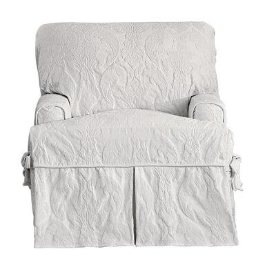 Matelasse Damask Armchair T-Cushion Slipcover Upholstery: White