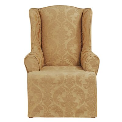 Matelasse Damask T-Cushion Wingback Slipcover Upholstery: Gold