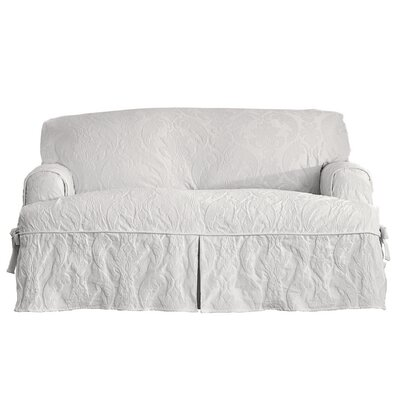 Matelasse Damask T-Cushion Loveseat Slipcover Upholstery: White