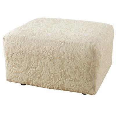 Stretch Jacquard Damask Ottoman Slipcover Upholstery: Ivory