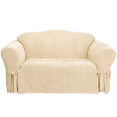 Soft Suede Box Cushion Loveseat Slipcover Upholstery: Cream