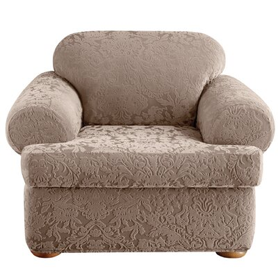 Stretch Jacquard Damask Armchair T-Cushion Slipcover Upholstery: Mushroom