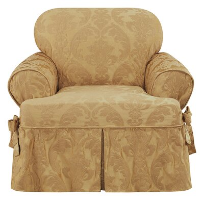 Matelasse Damask T-Cushion Armchair Slipcover Upholstery: Gold