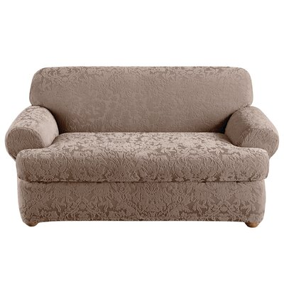 Stretch Jacquard Damask Loveseat T-Cushion Slipcover Upholstery: Mushroom
