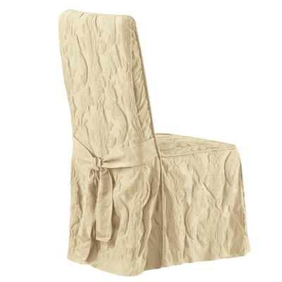 Matelasse Damask Long Chair Slipcover Upholstery: Tan