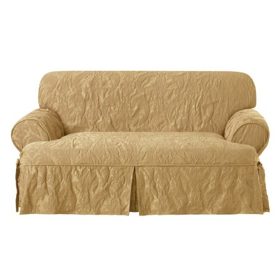 Matelasse Damask Loveseat T-Cushion Slipcover Upholstery: Gold