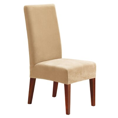 Stretch Pique Short Chair Slipcover Upholstery: Cream