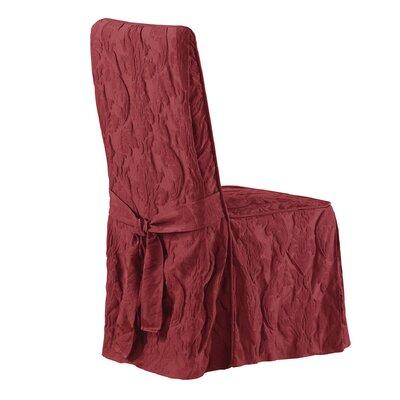 Matelasse Damask Long Chair Slipcover Upholstery: Chili