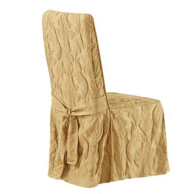 Matelasse Damask Long Chair Slipcover Upholstery: Gold
