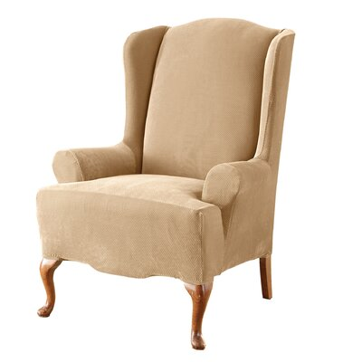 Stretch Pique Wing Chair Slipcover Upholstery: Cream