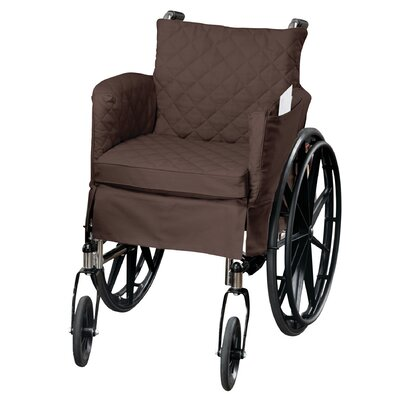 Twill Supreme Skirted Cotton Wheel Chair Slipcover Upholstery: Coffee