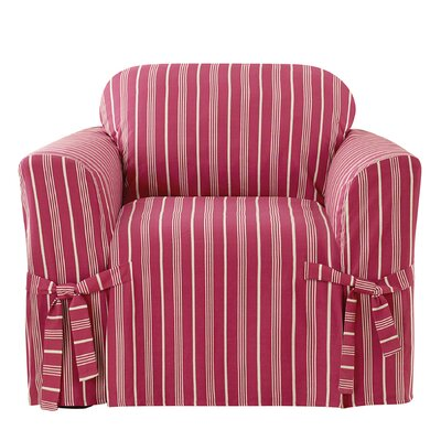 Grain Sack Stripe Box Cushion Arm Chair Slipcover Upholstery: Claret