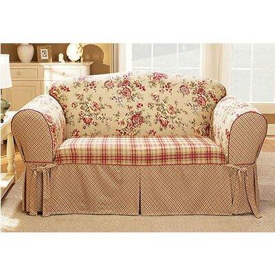 Lexington Loveseat Skirted Slipcover Upholstery: Red
