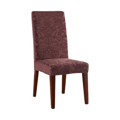 Stretch Jacquard Damask Dining Chair Slipcover Upholstery: Raisin