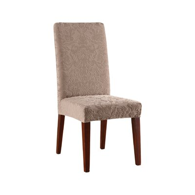 Stretch Jacquard Damask Dining Chair Slipcover Upholstery: Mushroom