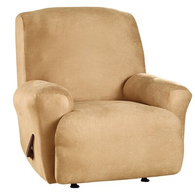 Stretch Leather T-Cushion Recliner Slipcover Upholstery: Camel