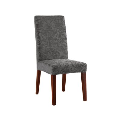 Stretch Jacquard Damask Dining Chair Slipcover Upholstery: Gray