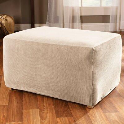 Stretch Stripe Ottoman Slipcover Upholstery: Sand