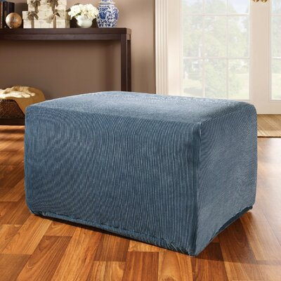 Stretch Stripe Ottoman Slipcover Upholstery: Navy