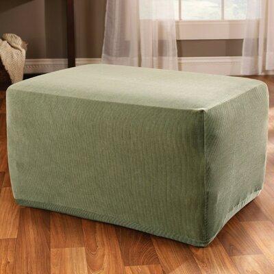 Stretch Stripe Ottoman Slipcover Upholstery: Sage