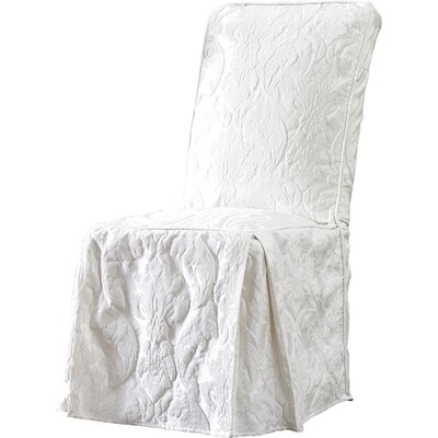 Matelasse Damask Long Chair Slipcover Upholstery: White