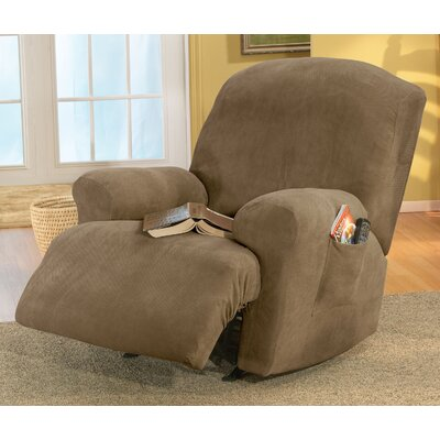 Stretch Pique Recliner T-Cushion Slipcover Upholstery: Antique
