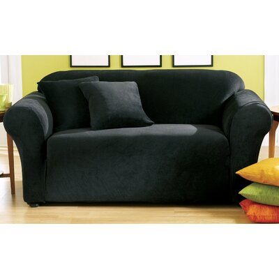 Stretch Pique Box Cushion Loveseat Slipcover Upholstery: Black