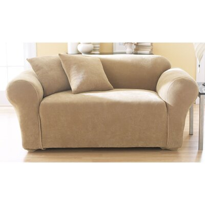 Stretch Pique Box Cushion Loveseat Slipcover Upholstery: Antique