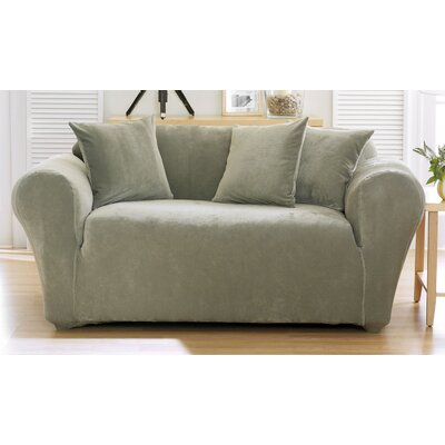 Stretch Pique Box Cushion Loveseat Slipcover Upholstery: Sage