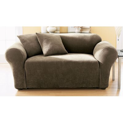 Stretch Pique Loveseat Slipcover Upholstery: Taupe