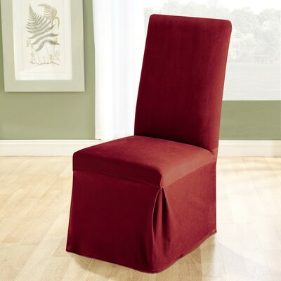 Stretch Pique Dining Chair Slipcover Upholstery: Garnet