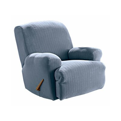 Sure Fit Stretch Pinstripe Recliner Slipcover(T-Cushion) - Color: Gray / Blue at Sears.com