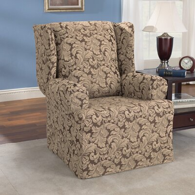 Scroll Classic Wing Chair T Cushion Skirted Slipcover Upholstery: Brown