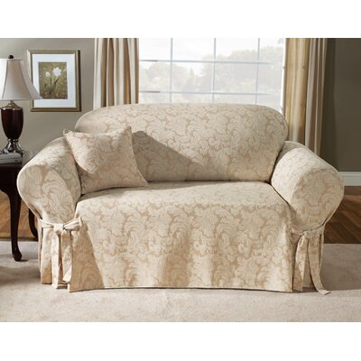 Scroll Classic Loveseat Skirted Slipcover Upholstery: Champagne