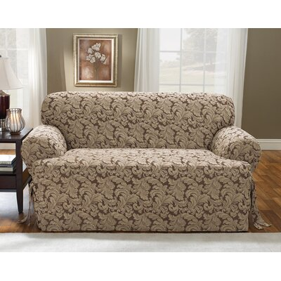Scroll Classic T-Cushion Loveseat Slipcover Upholstery: Brown