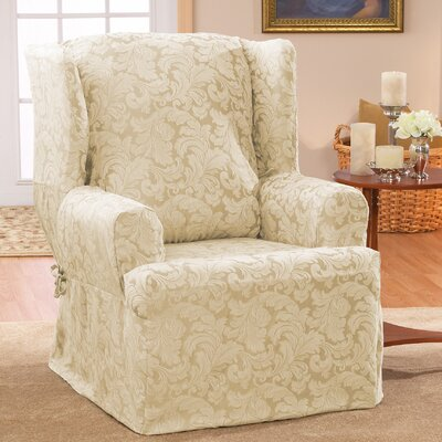 Scroll Classic T-Cushion Wingback Slipcover Upholstery: Champagne