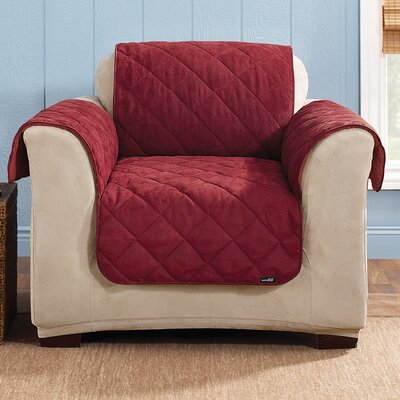 Soft Suede Armchair Slipcover Upholstery: Burgundy