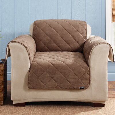 Soft Suede Armchair Slipcover Upholstery: Cocoa