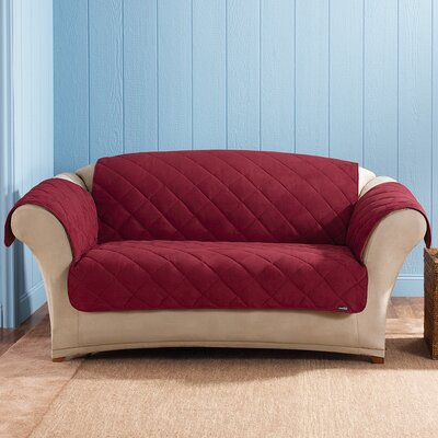 Soft Suede Loveseat Slipcover Upholstery: Burgundy
