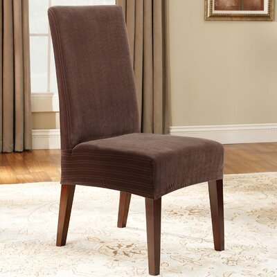 Stretch Pinstripe Dining Chair Slipcover Upholstery: Chocolate