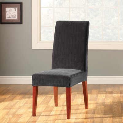 Stretch Pinstripe Dining Chair Slipcover Upholstery: Black