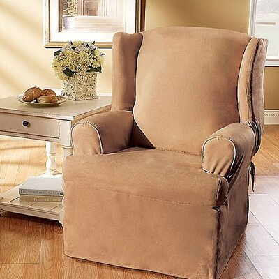 Soft Suede T-Cushion Wingback Slipcover Upholstery: Sable