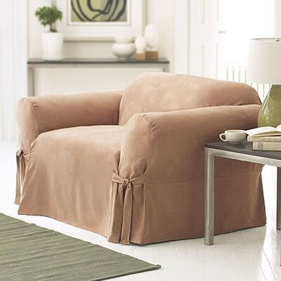 Soft Suede Box Cushion Armchair Slipcover Upholstery: Sable