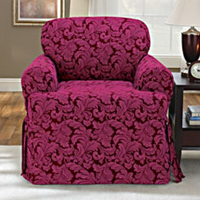 Scroll Classic Fit Armchair Slipcover Upholstery: Burgundy